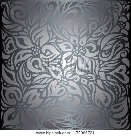 Silver shiny floral luxury vintage decorative background