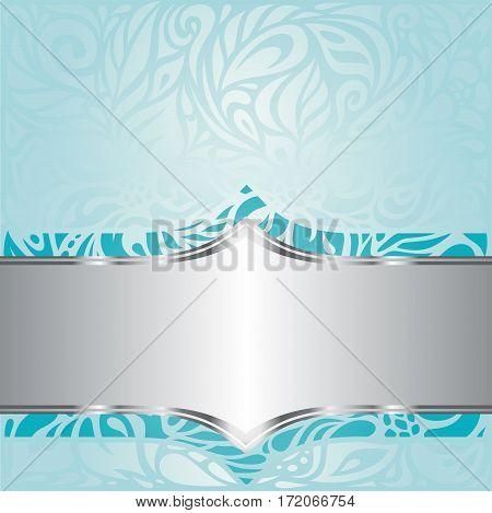 Turquoise green blue floral vintage holiday invitation background design
