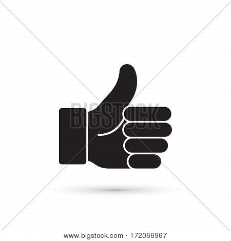 Thumb up vector black icon isolated on white.