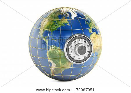 Earth with safe dial padlock protect concept. 3D rendering isolated on white background