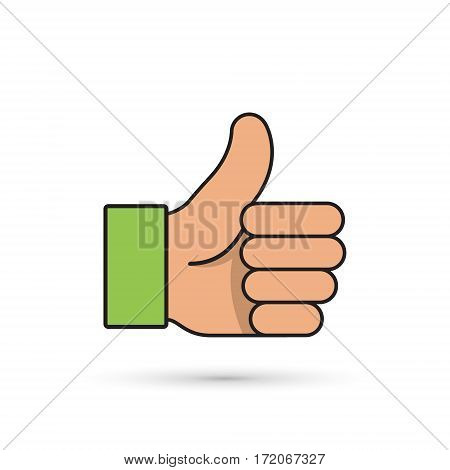 Thumb up vector icon color isolated illustration.