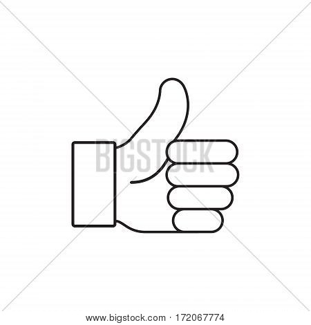 Thumb up vector icon outline isolated on white.