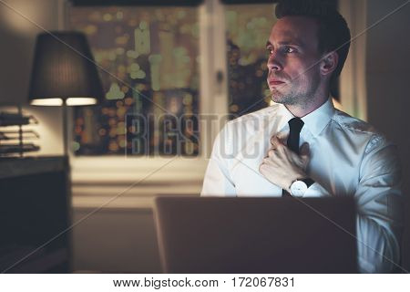 Serious Businessman Thinking