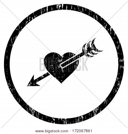 Arrow Heart grainy textured icon for overlay watermark stamps. Rounded flat vector symbol with dirty texture. Circled black ink rubber seal stamp with grunge design on a white background.