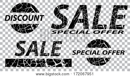 Sale special offers discounts on grunge. Black a transparent background. Vector illustration.