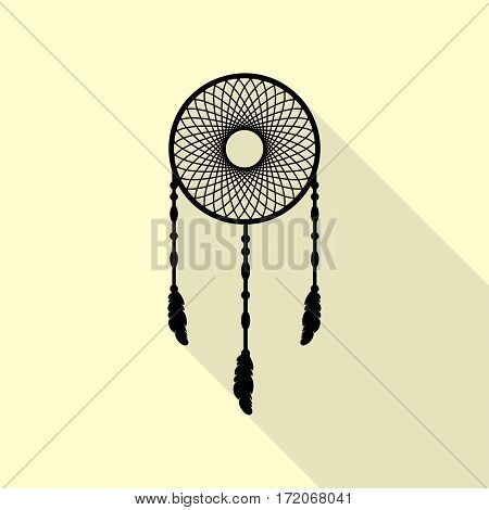 Dream catcher sign. Black icon with flat style shadow path on cream background.