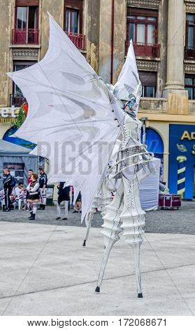 Bucharest, Romania - 31 May, 2014: International Street Theatre Company, Close Act Theatre Presents