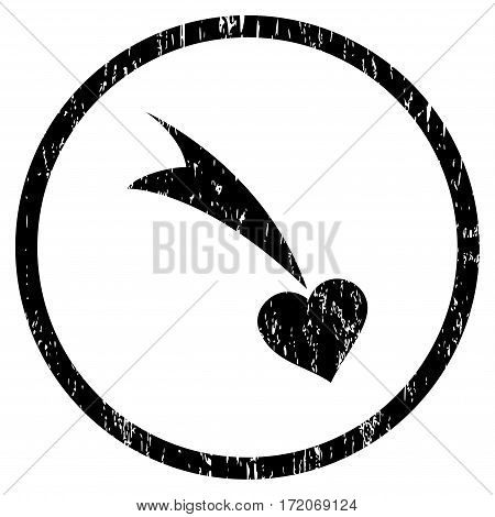 Falling Heart grainy textured icon for overlay watermark stamps. Rounded flat vector symbol with scratched texture. Circled black ink rubber seal stamp with grunge design on a white background.