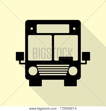 Bus sign illustration. Black icon with flat style shadow path on cream background.