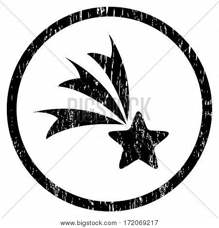 Falling Star grainy textured icon for overlay watermark stamps. Rounded flat vector symbol with dirty texture. Circled black ink rubber seal stamp with grunge design on a white background.