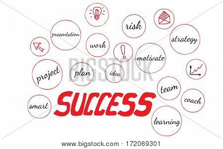 Red word success on a white background. Isolated success text with other busines words.