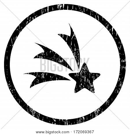 Falling Star grainy textured icon for overlay watermark stamps. Rounded flat vector symbol with unclean texture. Circled black ink rubber seal stamp with grunge design on a white background.