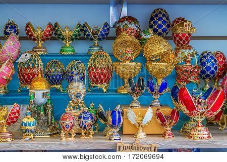 Souvenir faberge eggs on local fair of Saint Petersburg