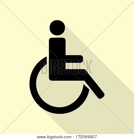 Disabled sign illustration. Black icon with flat style shadow path on cream background.