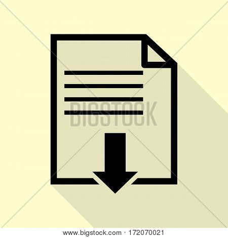 File download sign. Black icon with flat style shadow path on cream background.