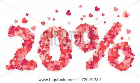 20 percent vector percentage number made from pink and red confetti hearts