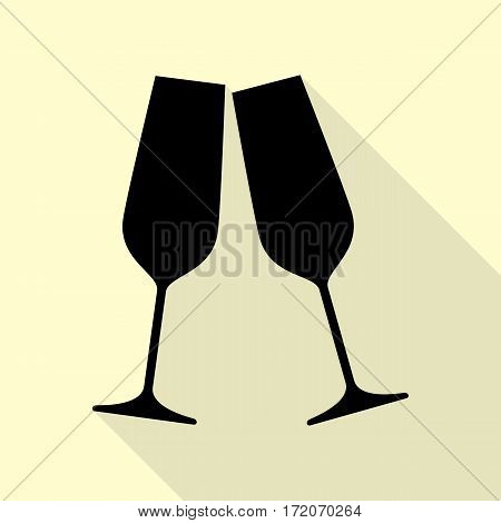 Sparkling champagne glasses. Black icon with flat style shadow path on cream background.