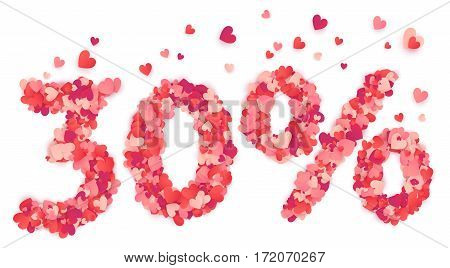 30 percent vector percentage number made from pink and red confetti hearts