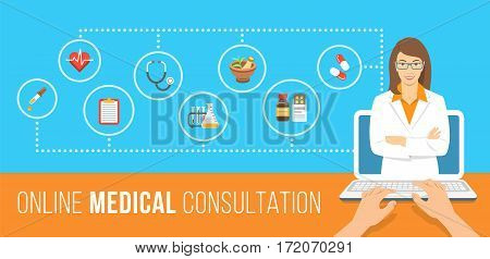 Health care online consultation flat conceptual banner. Medical assistance by internet. Female doctor consultant gives information about medicines. Patient uses computer for online diagnostics