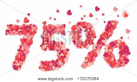 75 percent vector percentage number made from pink and red confetti hearts