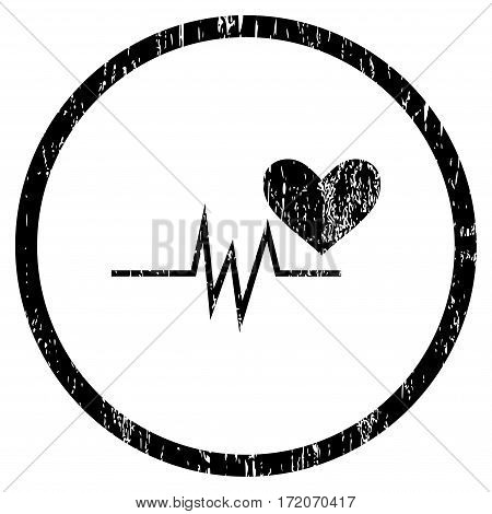Heart Pulse Signal grainy textured icon for overlay watermark stamps. Rounded flat vector symbol with dust texture. Circled black ink rubber seal stamp with grunge design on a white background.