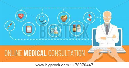 Health care online consultation flat conceptual banner. Medical assistance by internet. Senior male doctor consultant gives information about medicines. Patient uses computer for online diagnostics
