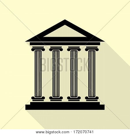 Historical building illustration. Black icon with flat style shadow path on cream background.