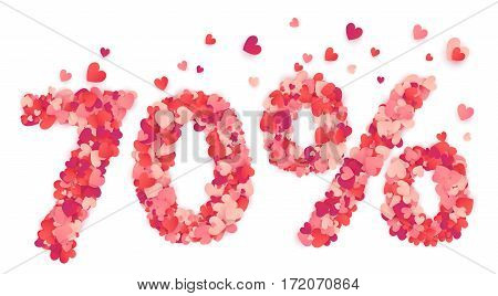 70 percent vector percentage number made from pink and red confetti hearts