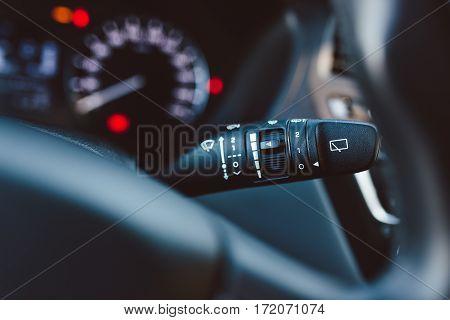 Close Up On Car Rain Windscreen Wiper Control Stick