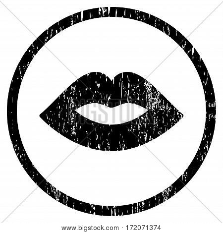 Lips grainy textured icon for overlay watermark stamps. Rounded flat vector symbol with dirty texture. Circled black ink rubber seal stamp with grunge design on a white background.