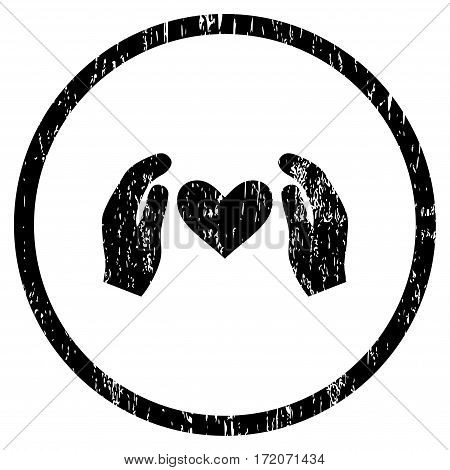 Love Care Hands grainy textured icon for overlay watermark stamps. Rounded flat vector symbol with unclean texture. Circled black ink rubber seal stamp with grunge design on a white background.