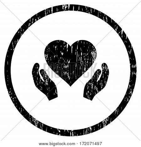 Love Care Hands grainy textured icon for overlay watermark stamps. Rounded flat vector symbol with dust texture. Circled black ink rubber seal stamp with grunge design on a white background.