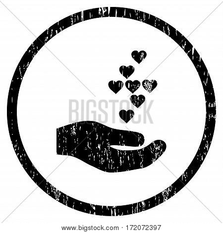 Love Hearts Offer Hand grainy textured icon for overlay watermark stamps. Rounded flat vector symbol with dust texture. Circled black ink rubber seal stamp with grunge design on a white background.