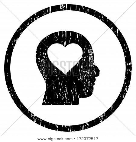 Love In Head grainy textured icon for overlay watermark stamps. Rounded flat vector symbol with dust texture. Circled black ink rubber seal stamp with grunge design on a white background.