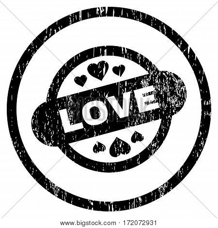 Love Stamp Seal grainy textured icon for overlay watermark stamps. Rounded flat vector symbol with unclean texture. Circled black ink rubber seal stamp with grunge design on a white background.