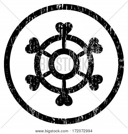 Lovely Boat Steering Wheel grainy textured icon for overlay watermark stamps. Rounded flat vector symbol with scratched texture.