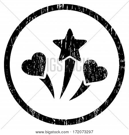 Lovely Fireworks grainy textured icon for overlay watermark stamps. Rounded flat vector symbol with scratched texture. Circled black ink rubber seal stamp with grunge design on a white background.
