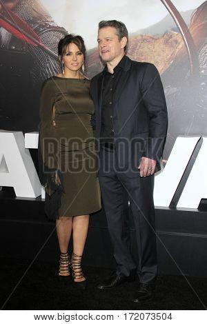 LOS ANGELES - FEB 15:  Luciana Barroso, Matt Damon at