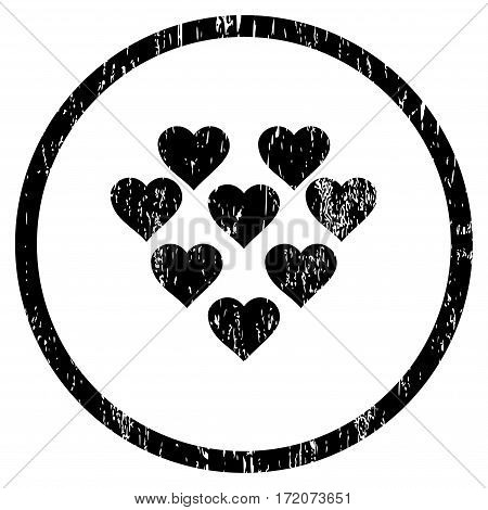 Lovely Hearts grainy textured icon for overlay watermark stamps. Rounded flat vector symbol with scratched texture. Circled black ink rubber seal stamp with grunge design on a white background.
