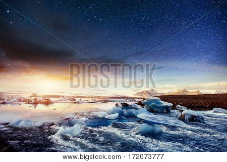 Fantastic views of waterfalls and turquoise water. Plitvice Lakes National Park. Starry sky night. fantastic milky way. Croatia, Europe. Starry sky night. Fantastic milky way.