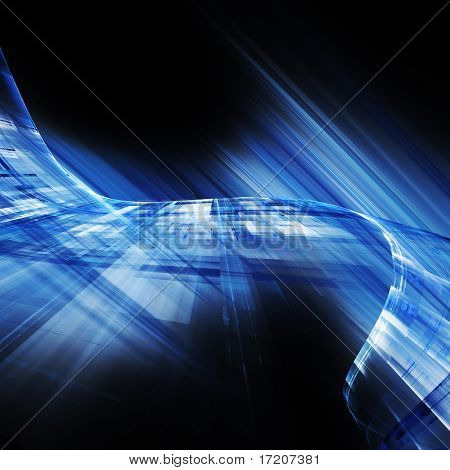 Blue on black futuristic abstract element