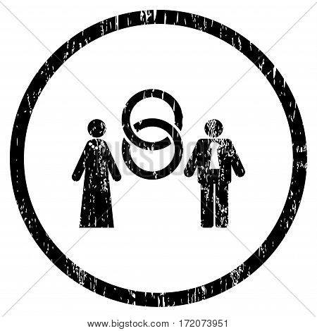Marriage Persons grainy textured icon for overlay watermark stamps. Rounded flat vector symbol with unclean texture. Circled black ink rubber seal stamp with grunge design on a white background.