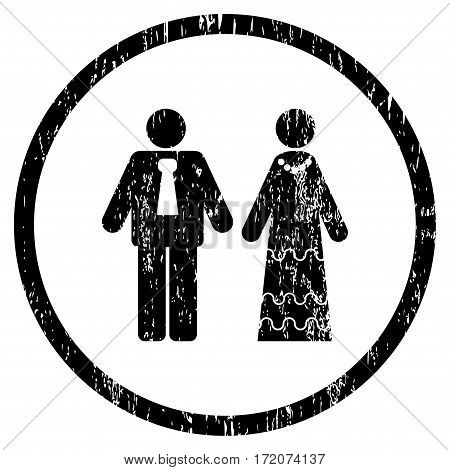 Newlyweds grainy textured icon for overlay watermark stamps. Rounded flat vector symbol with dirty texture. Circled black ink rubber seal stamp with grunge design on a white background.