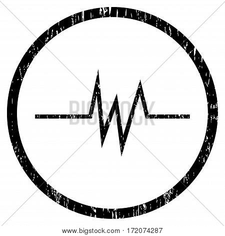 Pulse Signal grainy textured icon for overlay watermark stamps. Rounded flat vector symbol with dirty texture. Circled black ink rubber seal stamp with grunge design on a white background.