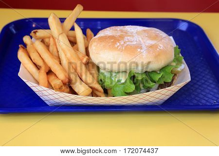 Hamburger and French Fries. lunch of burger and fries. fast food lunch.