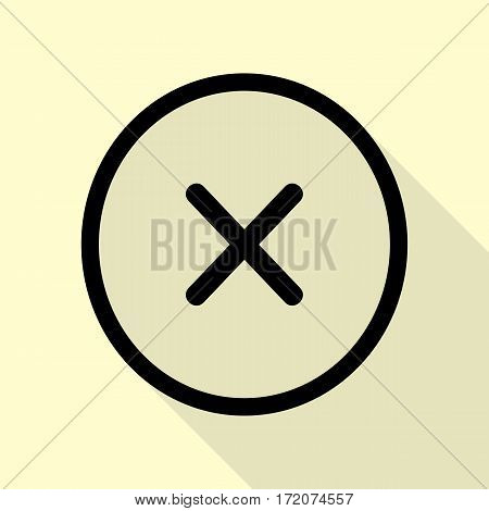Cross sign illustration. Black icon with flat style shadow path on cream background.