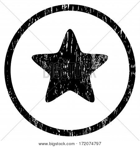 Star grainy textured icon for overlay watermark stamps. Rounded flat vector symbol with unclean texture. Circled black ink rubber seal stamp with grunge design on a white background.