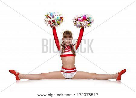 Cheerleading Girl Sits On Splits
