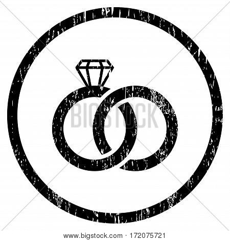 Wedding Rings grainy textured icon for overlay watermark stamps. Rounded flat vector symbol with unclean texture. Circled black ink rubber seal stamp with grunge design on a white background.