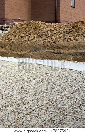 Gravel And Reinforcement For The Pouring Of Concrete For A Road